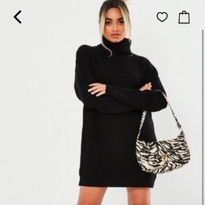 Misguided petite black roll neck sweater dress